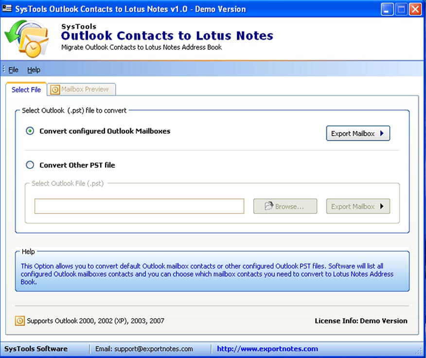 Import MS Outlook Contacts